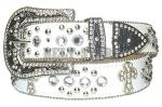 White Rhinestone Studded Cross Belt