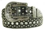 Black Rhinestone Studded Genuine Leather Belt