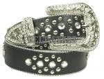 Black Rhinestone Genuine Leather Studded Belt
