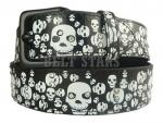 Black Leather Rhinestone Skull Snap Belt