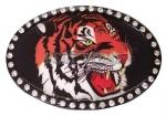 Rhinestone Tiger Oval Belt Buckle