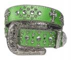 Green Rhinestone Studded Cross Belt