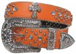 Orange Rhinestone Studded Cross Belt