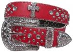 Red Rhinestone Studded Cross Belt