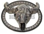 Oval Rhinestone Bull Head Belt Buckle