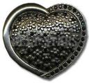 Black Rhinestone Heart Belt Buckle