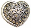 Gold Rhinestone Heart Belt Buckle