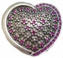 Purple Rhinestone Heart Belt Buckle