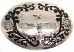 Chrome Oval Bull Belt Buckle
