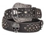 Black Leather Belt W/ Skulls & Hematite Stones