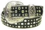 Black Gator Leather Belt W/ Chrome Studs & AB Rhinestones