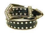 Croc Black Leather Belt W/ AB Rhinestones