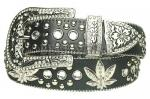 Black Rhinestone Studded Leaf Genuine Leather Belt