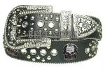 Black Rhinestone Studded Skull Genuine Leather Belt