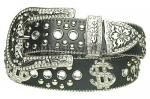 Black Rhinestone Studded Dollar Sign Genuine Leather Belt