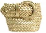Wide Gold Leather Braided Belt