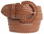 Wide Brown Leather Braided Belt
